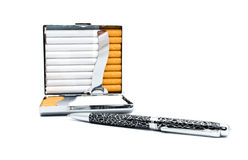 Silver-plated cigarette-case and pen Royalty Free Stock Photography