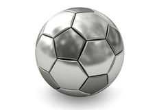 Silver or platinum soccer ball on white Royalty Free Stock Photo