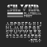 Silver platinum stencil font. Metallic shiny alphabet. Geometric letters and numbers vector illustration
