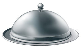 Silver platter illustration. A fine dining silver cloche platter illustration such as those used in fine dining restaurants Stock Images