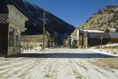 Silver Plume Colorado. Winter on the main street of Siler Plume Colorado Stock Photo