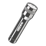Silver Pocket Flashlight isolated on a white background. Color line art. Retro design. Stock Photo