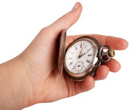 Silver pocket watch in hand. Isolated on white Royalty Free Stock Photography