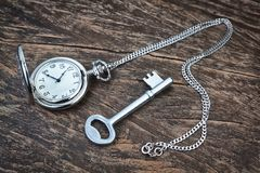 Silver pocket watch and key on wooden texture. Royalty Free Stock Image