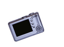 Silver point and shoot. Digital compact camera with blank LCD display stock photos