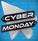 Silver Pointer and Dark Tags for Cyber Monday Discounts, Vector Illustration Stock Images