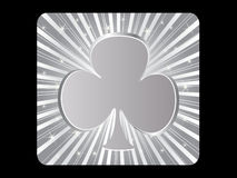 Silver poker element - clover Royalty Free Stock Photos