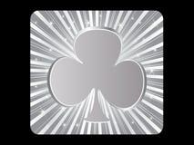Silver poker element - clover Royalty Free Stock Photos