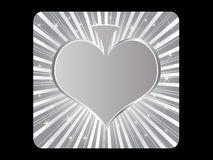 Silver poker element - heart Stock Images