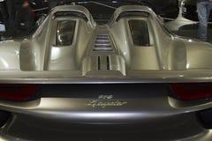 Silver Porsche 918 Spyder hybrid supercar Royalty Free Stock Photography