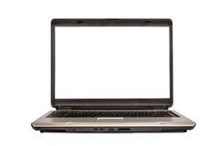 Silver Portable Laptop Computer Isolated XXXL Stock Images
