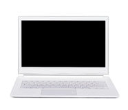 Silver portable ultra thin laptop. Isolated. Front view. Silver portable ultra thin computer. Isolated. Front view Royalty Free Stock Image