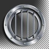 Porthole Vector. Round Silver Window With Rivets. Bathyscaphe Ship Metal Frame Design Element. For Aircraft, Submarines. Silver Porthole Vector. Round Metal Royalty Free Stock Photo