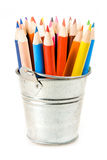 Silver pot of crayons Royalty Free Stock Photos