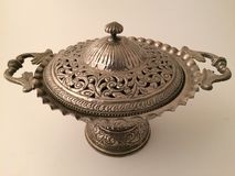 Silver pot. For decorations Stock Images