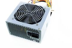 Free Silver Power Supply Fan Top View On Isolated Background Royalty Free Stock Image - 213039256