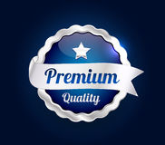 Silver Premium Quality Badge. Silver and blue Premium high quality badge Royalty Free Stock Photo
