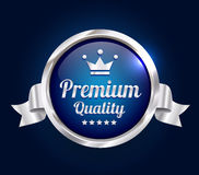 Silver Premium Quality Badge. Silver and blue Premium high quality badge Stock Images