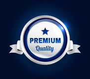 Silver Premium Quality Badge Royalty Free Stock Photos