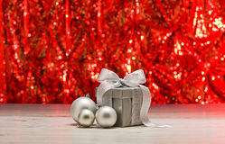 Silver present and baubles Stock Photo