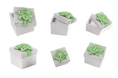 Silver present boxes. On white background. FIND MORE present boxes in my portfolio Stock Image