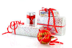 Silver presents for christmas Royalty Free Stock Photography