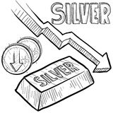 Silver prices decreasing sketch Stock Images