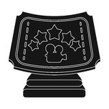 Silver prize with star, and camera on a stand.Movie awards single icon in black style vector symbol stock illustration. Royalty Free Stock Photography