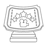 Silver prize with star, and camera on a stand.Movie awards single icon in outline style vector symbol stock illustration. Silver prize with star, and camera on a Stock Photo