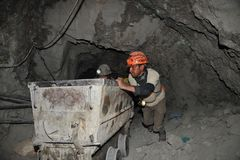 Silver production in mine. Royalty Free Stock Photo