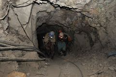 Silver production in mine. Royalty Free Stock Photography