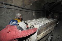 Silver production in mine. Royalty Free Stock Photos