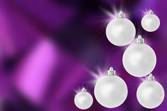 Silver Purple christmas baubles Stock Images