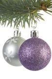 Silver and Purple Christmas Decorations Stock Photo