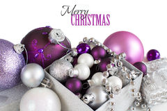 Silver and purple Christmas ornaments border Royalty Free Stock Photos