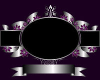 Silver and Purple Floral Frame Royalty Free Stock Photo