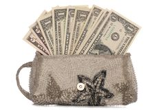 Silver purse with american dollars Royalty Free Stock Photos