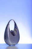 Silver purse on blue background Stock Photography