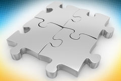 Silver Puzzle In Halftone Background Royalty Free Stock Image