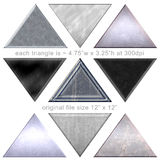 9 Silver Pyramids Triangle Metal Shapes Royalty Free Stock Images