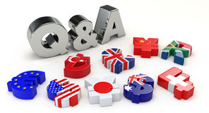 Silver Q&A and currency symbol Stock Images