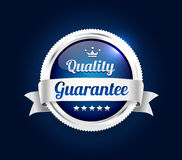 Silver Quality Guarantee Badge. Silver and blue best quality guarantee badge Royalty Free Stock Photo