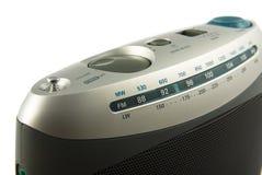 Silver radio close up. Modern analogue radio isolated on white Royalty Free Stock Photography
