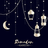 Silver Ramadan Kareem celebration greeting card. Hanging arabic lamps, stars and crescent moon. Holy month of muslim. Symbol of Islam. Moon Ramadan. Vector royalty free illustration