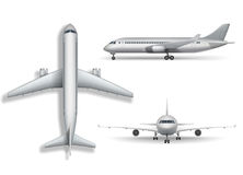 Silver realistic airplane mock up isolated. Aircraft, airliner 3d illustration on white background. Set of air plane. Aircraft, airplane, airliner vector. Set of vector illustration