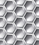 Silver realistic seamless pattern. Silver realistic hexagon seamless pattern, vector shiny metallic background stock illustration