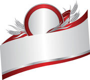 Silver and red banner with a few silver wheat ears. Silver and red banner with a few silver wheat ears with leaves on ribbon. Vector illustration Stock Photos