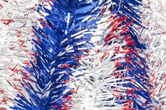 Silver Red and Blue ribbons. Full image of Silver red and blue ribbons Royalty Free Stock Image