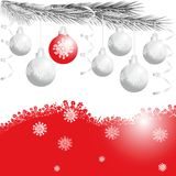 Silver and red christmas balls. On white and red background Royalty Free Stock Photos