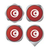 Silver color Tunisia flag button variation vector illustration